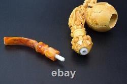 Skull Pipe BY SADIK YANIK Block Meerschaum Handmade From Turkey -NEW W CASE#1321