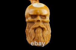 Skull With Beard Pipe By Koray Handmade Block Meerschaum-NEW W CASE#134