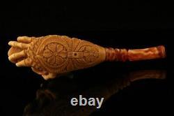 Skull in Skeleton Hand Block Meerschaum Pipe with custom case 12244