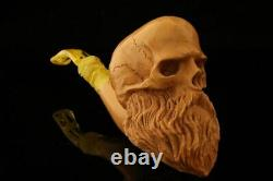 Skull with Beard Block Meerschaum Pipe by Kenan with case 12157
