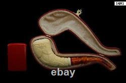 Slim Horn Vineyard Pipe By H EGE New Block Meerschaum Handmade W Case#93