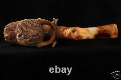 Smoky Mouth Dragon Pipe Carved by I. BAGLAN Block Meerschaum in fitted case 5488