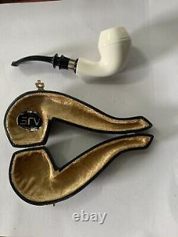 Smooth Apple Pipe W 925 Silver BLOCK MEERSCHAUM-NEW-HAND CARVED W Case