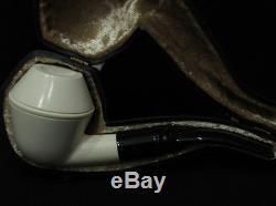 Smooth Bulldog Rhodesian Block Meerschaum Pipe Black Acrylic Stem Hand made 5605