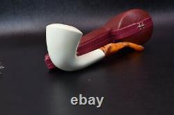 Smooth Dublin Pipe BLOCK MEERSCHAUM-NEW-HAND CARVED From Turkey W Case#1138