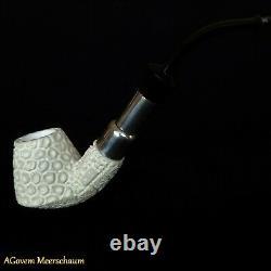 Spigot Block Meerschaum Pipes, 925 Silver, Smoking Pipe, Tobacco + CASE AGM91