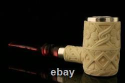 Srv Premium Deluxe Poker Block Meerschaum Pipe with CASE 10485