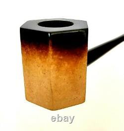 Superb! Unsmoked! African Block Meerschaum (17h) Paneled Poker Estate Pipe