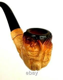 Superb! Unsmoked! African Block Meerschaum Tribal Bent Billiard Estate Pipe