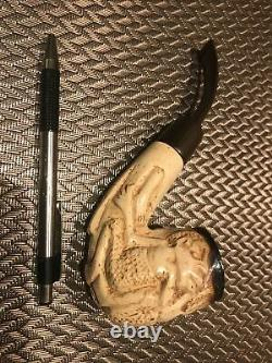 Superb Vintage Carved Tanganika Vintage GENUINE BLOCK MEERSCHAUM Pipe