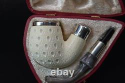 TEKIN Lattice APPLE Pipe BLOCK MEERSCHAUM-NEW-HAND CARVED W Case790 Army Pocket