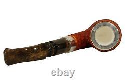 TEKIN RUSTICATED BENT PIPE BLOCK MEERSCHAUM-NEW-HAND CARVED W Case#1481 Silver