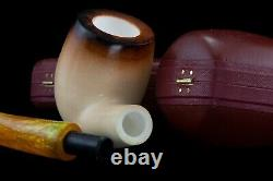 Tekin Lee Van Cleef Pipe 9 MM Filter BLOCK MEERSCHAUM-NEW-HAND CARVED W Case1145