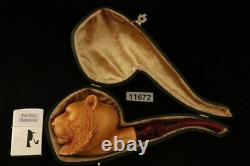 Tiger Block Meerschaum Pipe Carved by Kenan with custom case 11672