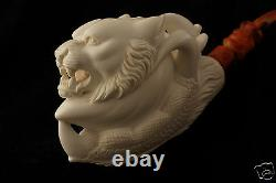 Tiger in an Eagle Claw Hand Carved Genuine Block Meerschaum Pipe in a CASE 5006