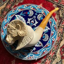 UNSMOKED Ram Hand Carved Block Meerschaum Pipe