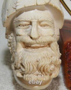 UNSMOKEDN. O. S. In CASE Giant BLOCK MEERSCHAUM Cultured Amber Stem Pipe