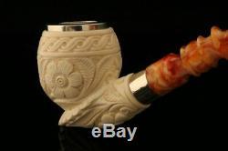 Versailles Hand Carved Block Meerschaum Pipe with custom CASE 10604