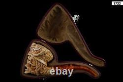 Viking Skull Pipe BY Koray Block Meerschaum-NEW Handmade W CASE#1110