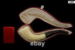 Vineyard Horn Pipe New Block Meerschaum Handmade W Case-Stand#756