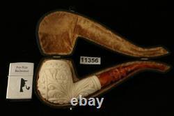 Vintage Hand Carved Block Meerschaum Pipe with custom CASE 11356