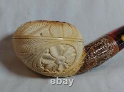 Vintage SMS Handcrafted Block Meerschaum Tobacco Pipe Turkey