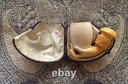 Vintage handcrafted hand shaped Meerschaum block pipe with a box