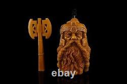 XL Ancient GIMLI Viking Pipe BY KENAN Block Meerschaum-NEW W CASE#923