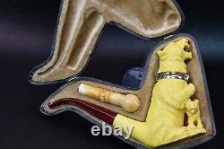 XL Angry Bear Pipe With Wind Cap New Handmade Block Meerschsum W Case&Tampe#1091