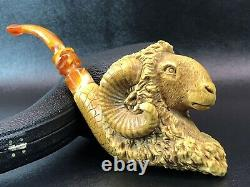 XL Beautifully Carved Ram Pipe Block Meerschaum-Handmade NEW With Case#1350