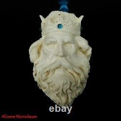 XL KING Block Meerschaum Pipe, Carved Turkish Smoking Pipe, Vintage, AGM-466