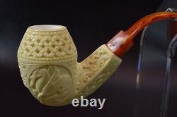 XL ORNATE Bulldog Pipe W Dragon By ALI New Block Meerschaum Handmade W Case-1198