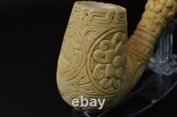 XL Ornate Egg PIPE BLOCK MEERSCHAUM-NEW-HAND CARVED W Case#704