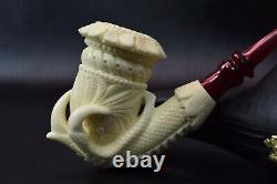 XL SIZE Floral Calabash W Claw Pipe-BLOCK MEERSCHAUM-NEW-HAND CARVED W Case#296