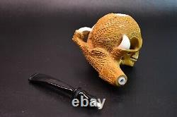 XL Size Claw Holds Skull Pipe BY ALI Block Meerschaum-Handmade NEW W CASE#433