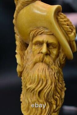XL Size KENAN Cavalier figure Pipe Block Meerschaum-NEW W CASE#468