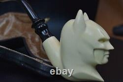 XL Smooth Batman Pipe By ALI New Block Meerschaum Handmade W Case-Stand#1114