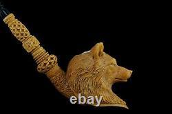 XXL Grey Wolf Pipe By Kenan new-block Meerschaum Handmade W Case#1385